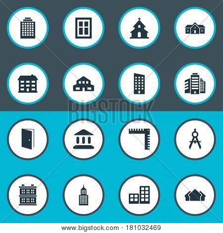 Vector Illustration Set Of Simple Construction Icons. Elements Floor, Offices, Glazing And Other Synonyms Estates, Residential And Shack.