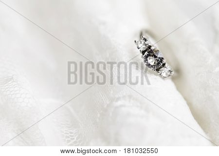 Diamond wedding ring in studio close up
