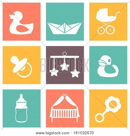Vector illustration of color baby icons for kids