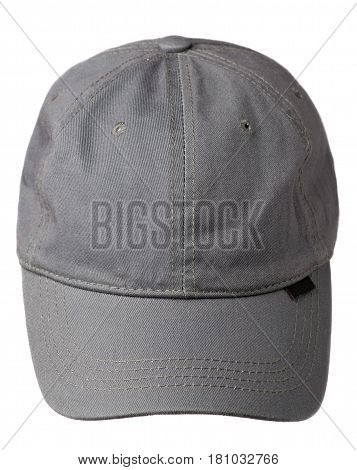 Hat Isolated On White Background. Hat With A Visor . Gray Hat
