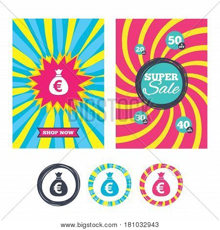 Sale banners and labels. Special offer tags. Money bag sign icon. Euro EUR currency symbol. Colored web buttons. Vector
