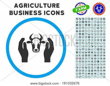 Cow Head Care Hands rounded icon with agriculture commercial glyph clip art. Vector illustration style is a flat iconic symbol inside a circle, blue and gray colors.