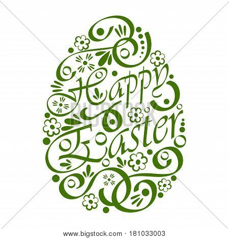 Big Easter egg silhouette with text and pattern