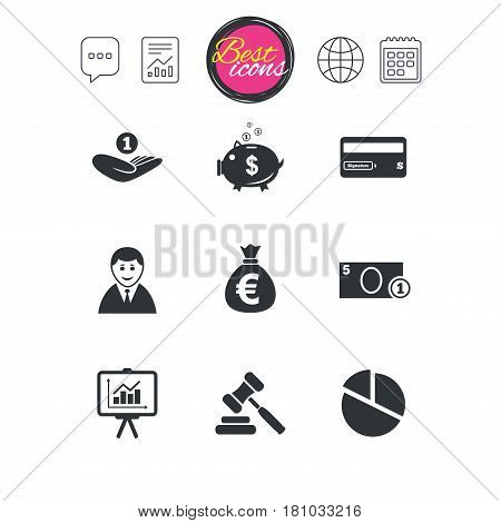 Chat speech bubble, report and calendar signs. Money, cash and finance icons. Piggy bank, credit card and auction signs. Presentation, pie chart and businessman symbols. Classic simple flat web icons