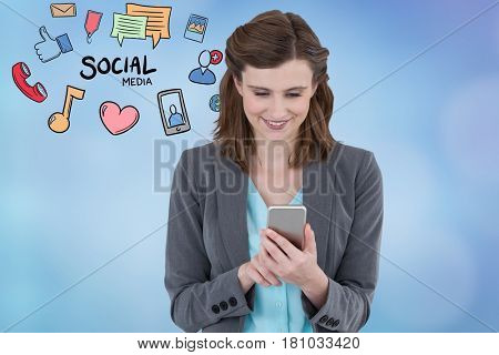 Digital composite of Smiling businesswoman social networking on smart phone