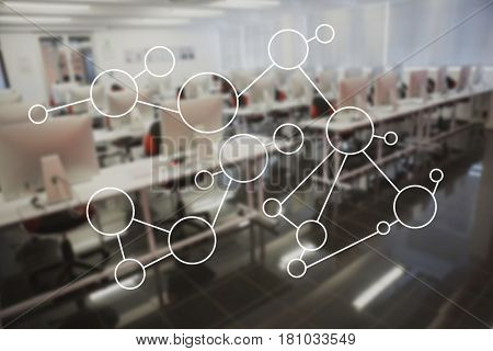 Digital composite of Molecule structure on glass in office