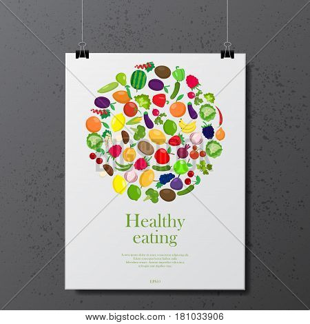 Gray grunge background with white poster with fruit and vegetables