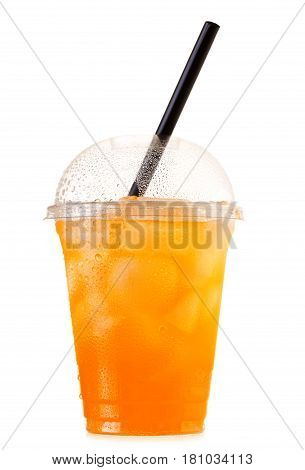 Orange Soda With Ice In Takeaway Cup Isolated On White Background