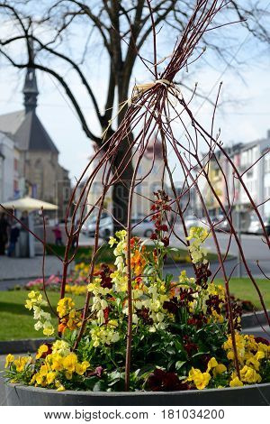 Lovingly designed flower decoration at the town square