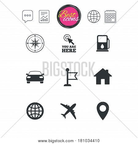 Chat speech bubble, report and calendar signs. Navigation, gps icons. Windrose, compass and map pointer signs. Car, airplane and flag symbols. Classic simple flat web icons. Vector