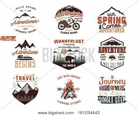 Set of Vintage adventure tee shirts designs. Hand drawn travel labels. Mountain explorer, wanderlust, expedition emblems, quotes in retro colors style.Isolated on white background.Vector illustration.