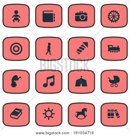 Vector Illustration Set Of Simple Child Icons. Elements Fetus, Stroller, Dictionary And Other Synonyms Toy, Bookshop And Board.