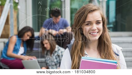 Digital composite of Digitally generated image of female college student by diagram with friends in background
