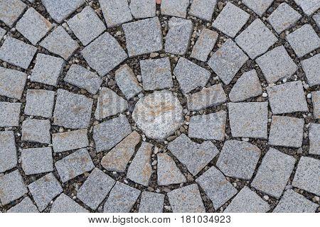 Circular paving stone pattern - bird perspective