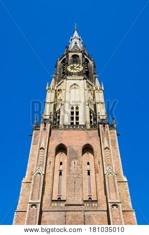 Traditional church with blue sky n delft Netherlands