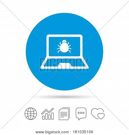 Laptop virus sign icon. Notebook software bug symbol. Copy files, chat speech bubble and chart web icons. Vector