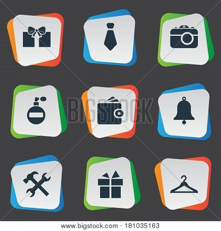 Vector Illustration Set Of Simple Instrument Icons. Elements Gift, Ring, Present And Other Synonyms Work, Bell And Billfold.