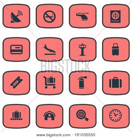 Vector Illustration Set Of Simple Travel Icons. Elements Baggage Cart, Protection Tool, Alighting Plane And Other Synonyms Copter, Protection And Alighting.