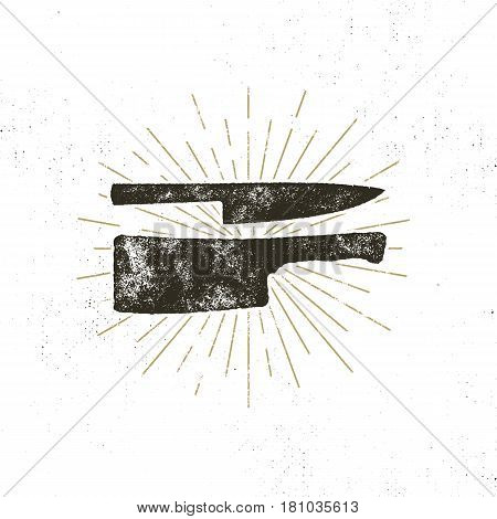 Hand drawn meat cleaver and knife symbols. Vintage steak house symbol. Letterpress effect with sunbursts. Vector design isolate on white background.