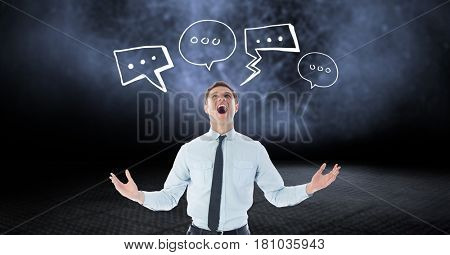Digital composite of Digitally generated image of businessman shouting with speech bubbles against black background