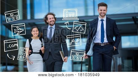 Digital composite of Business people with various icons