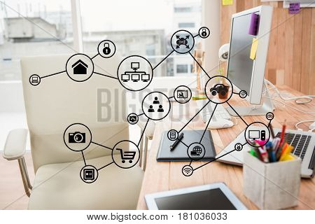 Digital composite of Digital composite image of icons in office