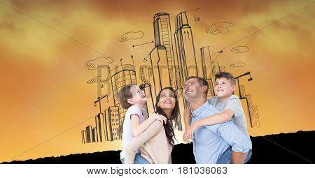 Digital composite of Digital composite image of happy family against buildings