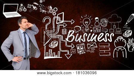 Digital composite of Thoughtful businessman with icons surrounding business text