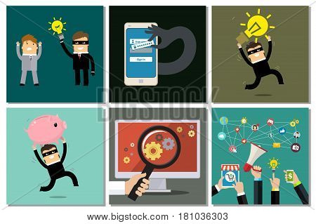 Concept of social media and data protection business set. Flat design, vector illustration.