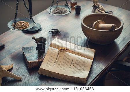 Grodno, Belarus - April 5, 2017: Apothecary Work Table With Drugs And Vintage Equipment In The Pharm