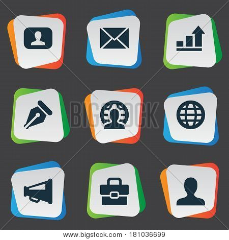 Vector Illustration Set Of Simple Job Icons. Elements Progress, Representative, Megaphone And Other Synonyms Increase, Representative And World.