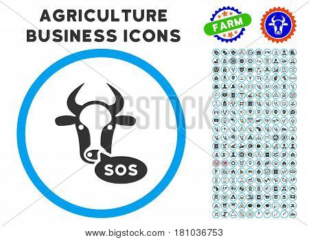 Cow Sos Message rounded icon with agriculture commercial icon clipart. Vector illustration style is a flat iconic symbol inside a circle, blue and gray colors.