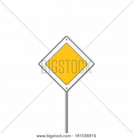 Main road sign icon. Flat design. Vector illustration