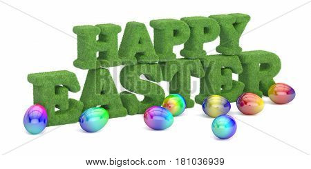 Happy Easter concept grassy inscription. 3D rendering isolated on white background
