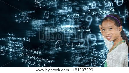 Digital composite of Smiling schoolgirl standing against glowing equations