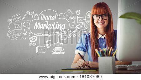 Digital composite of Businesswoman smiling with icons surrounding Digital marketing text in cloud