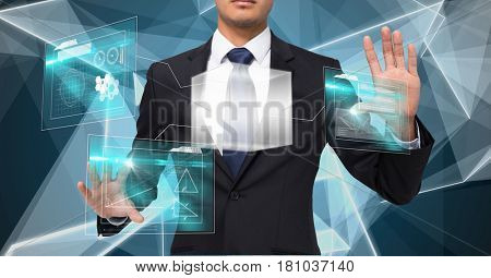 Digital composite of Midsection of businessman touching screens