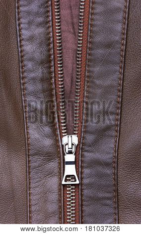 Brown Leather Jacket closeup