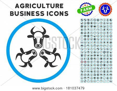 Cow Trinity rounded icon with agriculture business glyph clipart. Vector illustration style is a flat iconic symbol inside a circle, blue and gray colors. Designed for web and software interfaces.