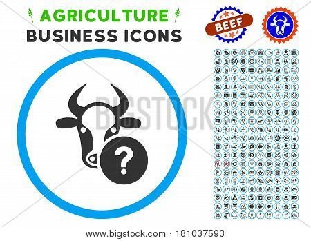 Cow Unknown Status rounded icon with agriculture commercial pictogram clip art. Vector illustration style is a flat iconic symbol inside a circle, blue and gray colors.