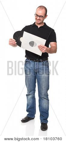 happy man holding old 33 longplay isolated on white