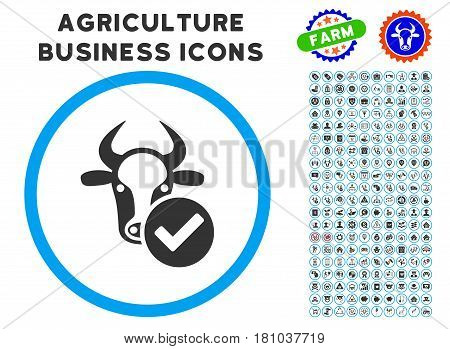Cow Valid rounded icon with agriculture commercial icon pack. Vector illustration style is a flat iconic symbol inside a circle, blue and gray colors. Designed for web and software interfaces.