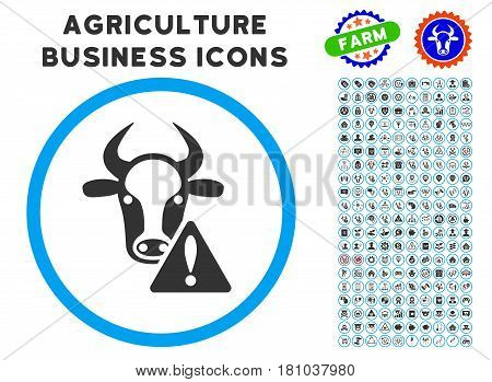 Cow Warning rounded icon with agriculture commercial glyph kit. Vector illustration style is a flat iconic symbol inside a circle, blue and gray colors. Designed for web and software interfaces.