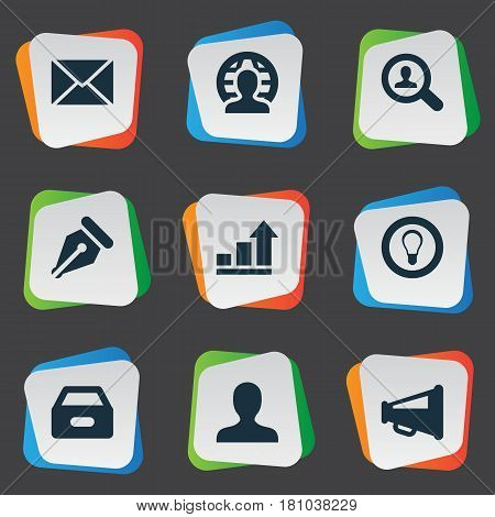 Vector Illustration Set Of Simple Trade Icons. Elements Inbox, Progress, Human And Other Synonyms Global, Human And Sign.