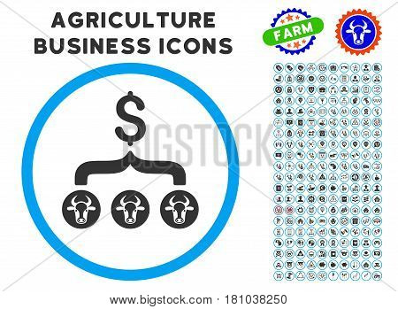 Cows Result Dollar rounded icon with agriculture commercial icon set. Vector illustration style is a flat iconic symbol inside a circle, blue and gray colors. Designed for web and software interfaces.