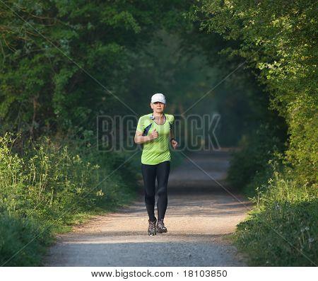 Older woman on training run