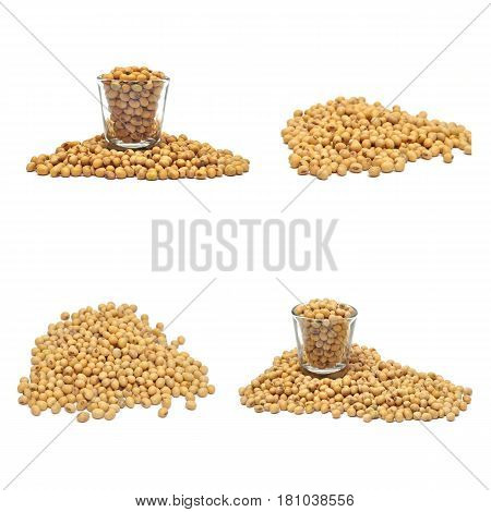 Close up of soybean food collection on white background