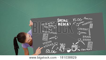 Digital composite of Woman pointing at bill board with icons and social media text
