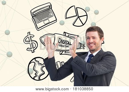 Digital composite of Digitally generated image of businessman gesturing with various icons in background