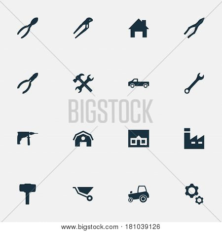 Vector Illustration Set Of Simple Axe Icons. Elements Cutters, Nippers, House And Other Synonyms Drill, Truck And Repair.